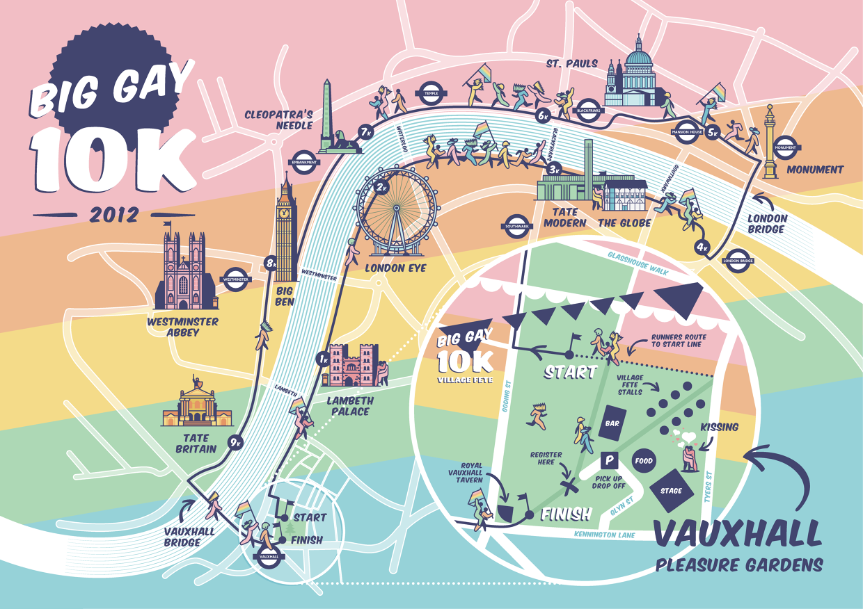 heres a route map i did for the big gay 10k fun run around london